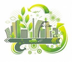 Logo di una città formata da palazzi verdi