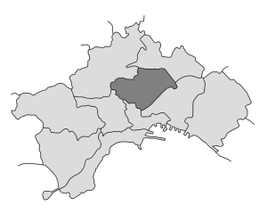 mappa della città di Napoli con evidenziata la Municipalità 3