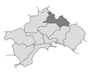 mappa della città di Napoli con evidenziata la Municipalità 7