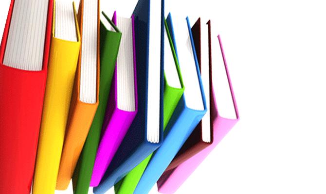 Una pila di libri colorati