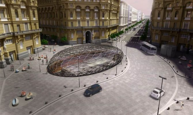 Un rendering della stazione metro di via Duomo