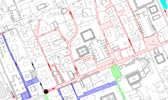 Planimetria dell'area pedonale