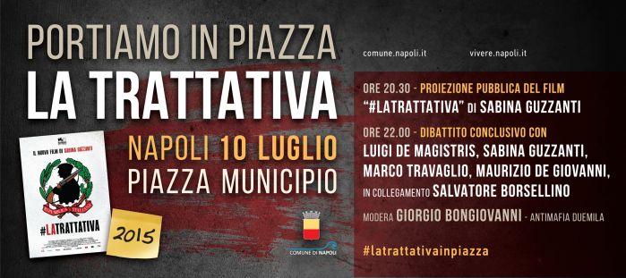 """Venerdì 10 luglio proiezione pubblica del film """"La Trattativa"""" in piazza Municipio"""