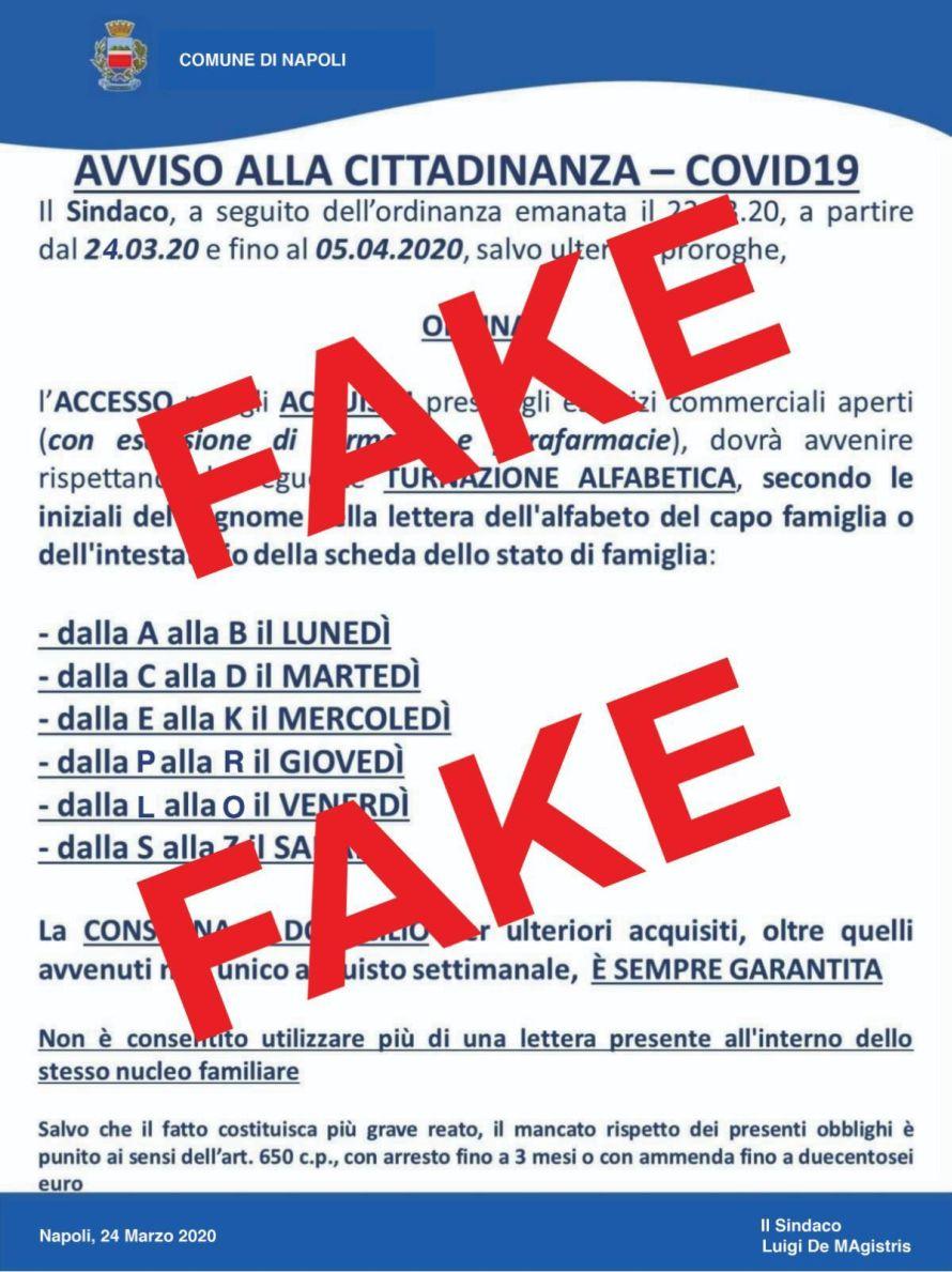 Fake news su turnazione alfabetica per l'accesso ai supermercati