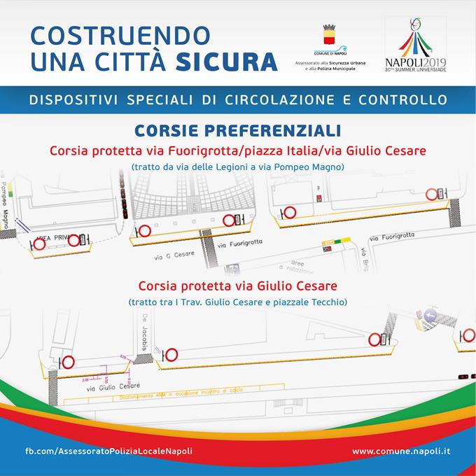 Corsia protetta via Fuorigrotta - piazza Italia - via Giuio Cesare