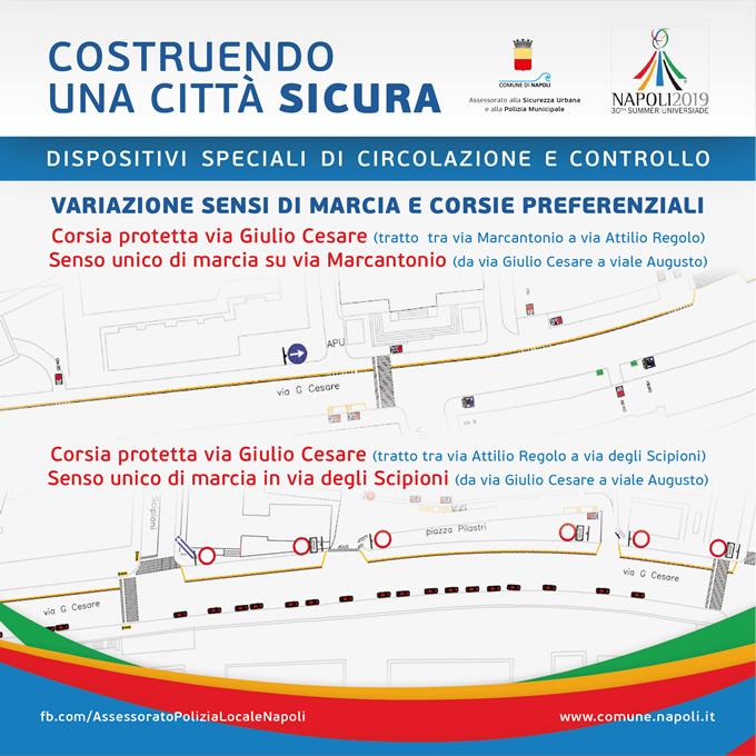 Corsia protetta via Giulio Cesare