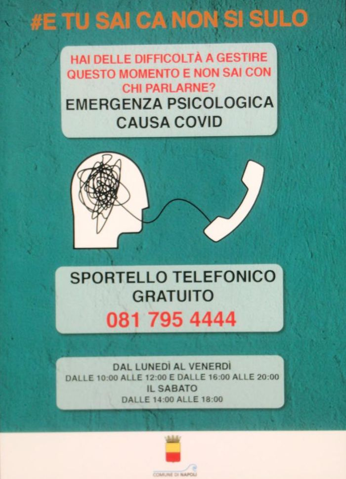 """Progetto di sostegno psicologico telefonico """"e tu sai ca nun sì sule"""""""