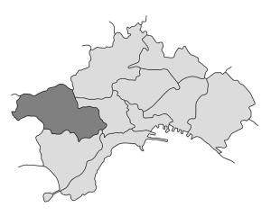 mappa della città di Napoli con evidenziata la Municipalità 9