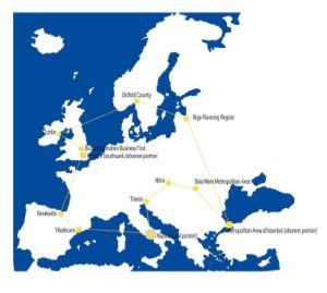 mappa dell'europa con sedi partner USeact