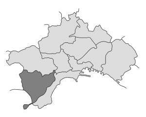 mappa della città di Napoli con evidenziata la Municipalità 10
