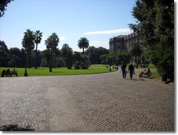uno scorcio di Palazzo Reale nel bosco di Capodimonte