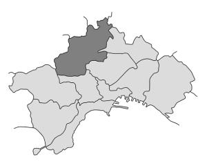 mappa della città di Napoli con evidenziata la Municipalità 8