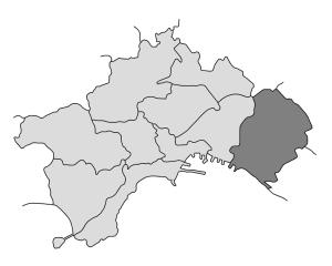mappa della città di Napoli con evidenziata la Municipalità 6