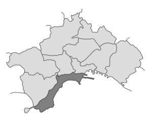 mappa della città di Napoli con evidenziata la Municipalità 1