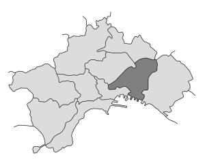 mappa della città di Napoli con evidenziata la Municipalità 4