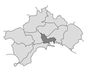 mappa della città di Napoli con evidenziata la Municipalità 2