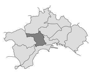 mappa della città di Napoli con evidenziata la Municipalità 5