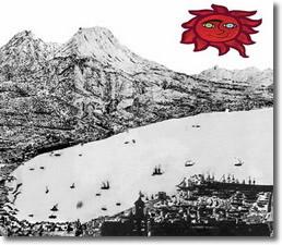 logo del Piano Strategico di Napoli rappresentato da un'antica stampa della città raffigurante il golfo di Napoli, il Vesuvio e un sole rosso stilizzato
