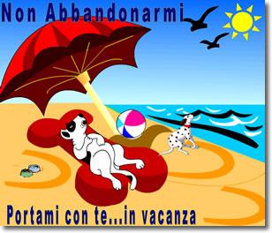 disegno di due cani su una spiaggia. è leggibile il testo: non abbandonarmi portami con te ... in vacanza