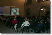 """interior of the hall """"Italia"""" with people attending a conference"""