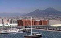 immagine digitalizzata di un porto con barche a vela e sullo sfondo il vesuvio di Napoli