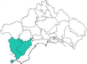 piantina della città di Napoli con evidenziata l'area della municipalità 10