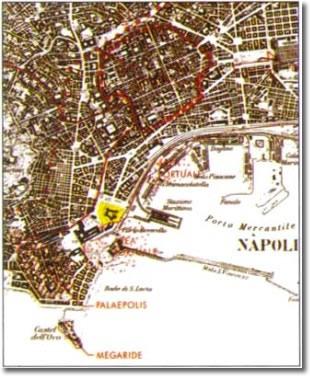antica mappa topografica della città