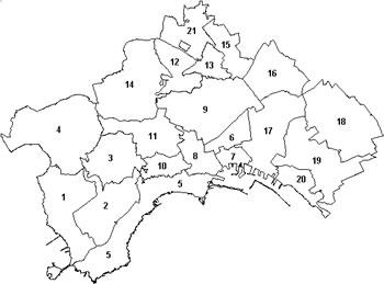 disegno della piantina comunale con delineate le attuali 21 circoscrizioni