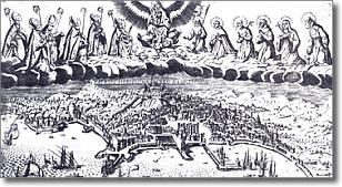 antica veduta di Napoli con in alto la Vergine Maria e i Santi patroni