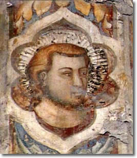 Decorative head placed on the right side of the Palatine Chapel choir