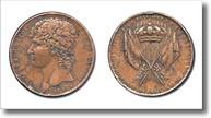 medaglia raffigurante re Gioacchino Murat e bandiere raccolte a fascio