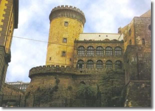 glimpse of the castle with battlemented tower