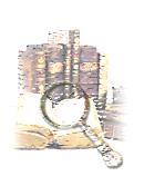 composizione grafica con lente d'ingrandimento e libri antichi