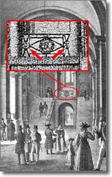 particolare di antica stampa raffigurante vestibolo di Palazzo San Giacomo
