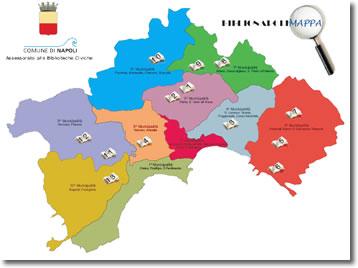 mappa delle municipalità cittadine con le sedi delle biblioteche