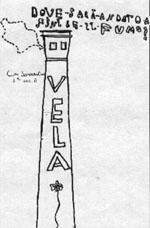 disegno fatto da bambini della ciminiera della fabbrica Vela di Barra