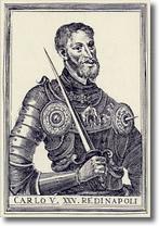 antica stampa raffigurante l'imperatore Carlo quinto