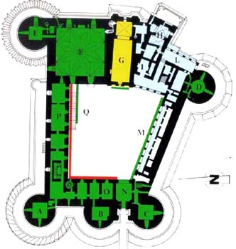 Plan of the castle with letters referring to the different areas