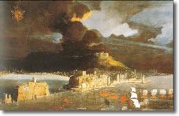 antica stampa raffigurante un castello circondato dal mare con sullo sfondo un vulcano in eruzione