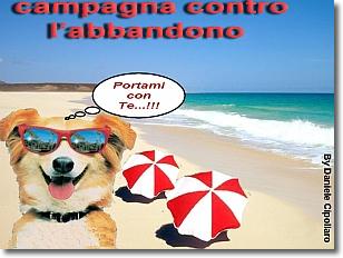 locandina della campagna con un cane in primo piano su di una spiaggia, con occhiali da sole e ombrelloni bianchi e rossi sullo sfondo