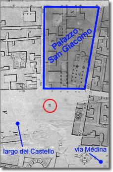 posizione dell'orologio di città evidenziata su cartografia del milleottocentosessanta