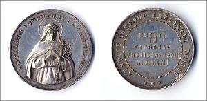 medaglia coniata per la patronanza di santa Maria Francesca delle Cinque Piaghe, anno millenovecentouno