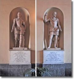 statue dei re Ruggero d'Altavilla e Federico secondo di Svevia