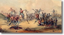 stampa colorata raffigurante Garibaldi in battaglia