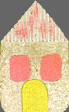 una casa disegnata con i pastelli
