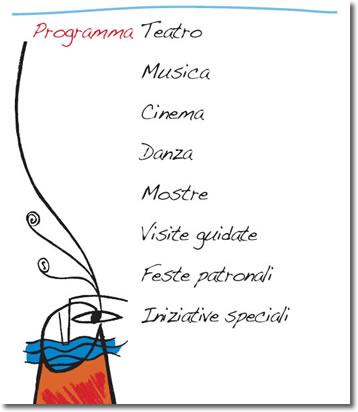 logo estate a napoli 2009. è leggibile il testo programma teatro, musica, cinema, danza, mostre, visite guidate, feste patronali, iniziative speciali