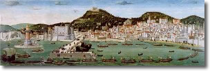 Picture representing the ancient city of Naples seen by the sea