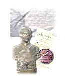 composizione grafica con busto di personaggio, medaglia, documento e lapide