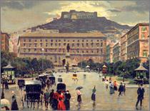 antica cartolina raffigurante  palazzo San Giacomo e piazza del Municipio