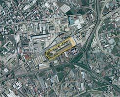 area delimitata in giallo area auchan
